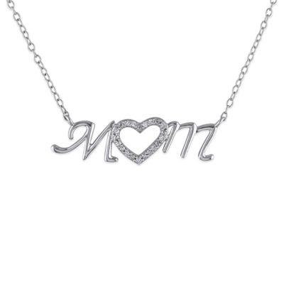 "Sterling Silver .06 cttw Diamond 18-Inch Chain ""Mom"" Pendant Necklace"
