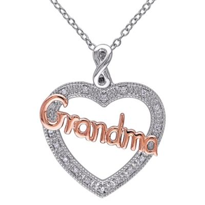 "Two-Tone Sterling Silver .05 cttw Diamond 18-Inch Chain ""Grandma"" Heart Pendant Necklace"