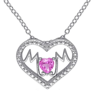 """Sterling Silver Created Pink Sapphire """"Mom"""" Heart 18-Inch Chain Pendant Necklace"""