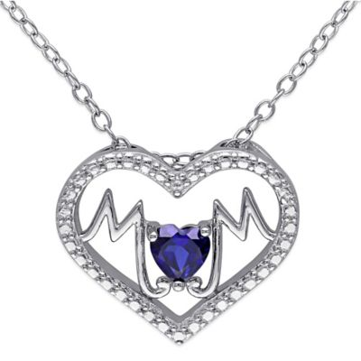"Sterling Silver Created Blue Sapphire ""Mom"" Heart 18-Inch Chain Pendant Necklace"