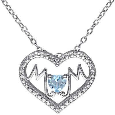 "Sterling Silver Sky Blue Topaz ""Mom"" Heart 18-Inch Chain Pendant Necklace"