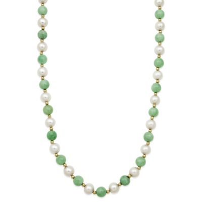 White Green Strand Necklace