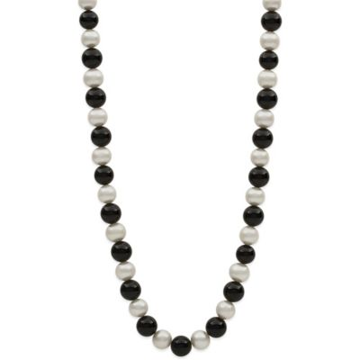 14K Yellow Gold Pearl and Onyx 24-Inch Strand Necklace