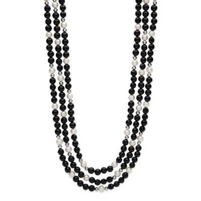 Sterling Silver Freshwater Pearl and Onyx 20-Inch Strand 3-Row Necklace