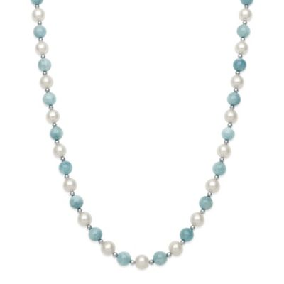 Sterling Silver Freshwater Pearl and Aquamarine 18-Inch Strand Necklace