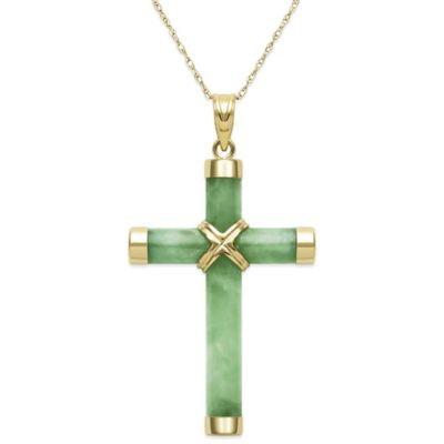 14K Yellow Gold Jadeite 18-Inch Chain Cross Pendant Necklace