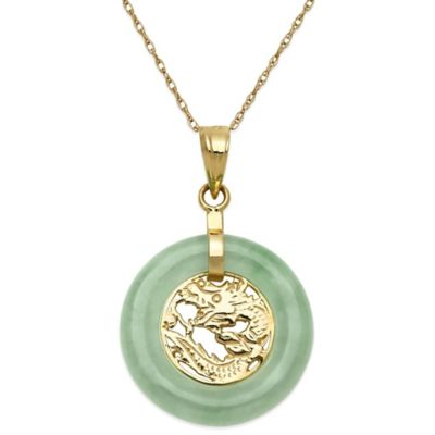 14K Yellow Gold Jadeite 18-Inch Chain Round Dragon Pendant Necklace