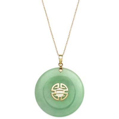 14K Yellow Gold Jadeite 18-Inch Chain Round Pendant Necklace