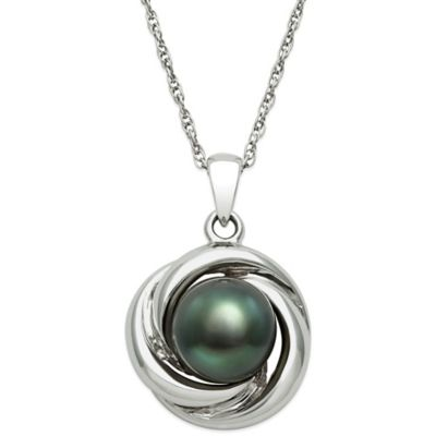 Sterling Silver Tahitian Black Freshwater Pearl 18-Inch Chain Love Knot Pendant Necklace