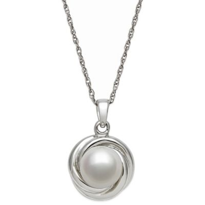 Sterling Silver 8mm Freshwater Cultured Pearl 18-Inch Chain Love Knot Pendant Necklace