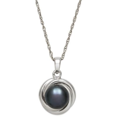 Sterling Silver Black Freshwater Pearl 18-Inch Chain Love Knot Pendant Necklace