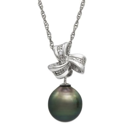 Sterling Silver .05 cttw Diamond and Tahitian Black Freshwater Cultured Pearl Bow Pendant Necklace
