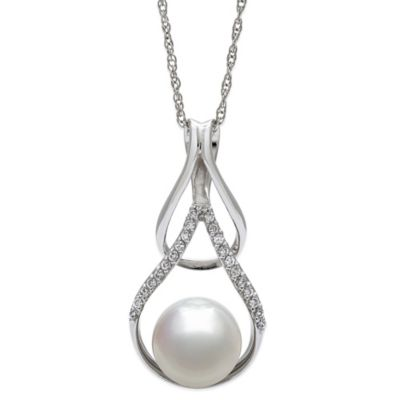 Sterling Silver Freshwater Cultured Pearl and White Topaz 18-Inch Chain Loop Pendant Necklace