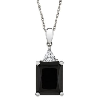 Sterling Silver Onyx and Topaz 18-Inch Chain Pendant Necklace