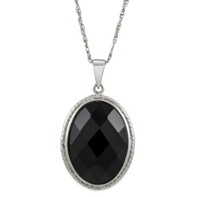 Sterling Silver Onyx 18-Inch Chain Oval Pendant Necklace