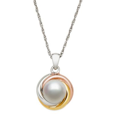 Tri-Color Gold White Freshwater Cultured Pearl 18-Inch Chain Love Knot Pendant Necklace