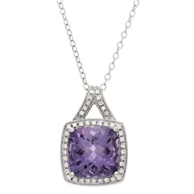 Sterling Silver .23 cttw Diamond and Amethyst 18-Inch Chain Pendant Necklace