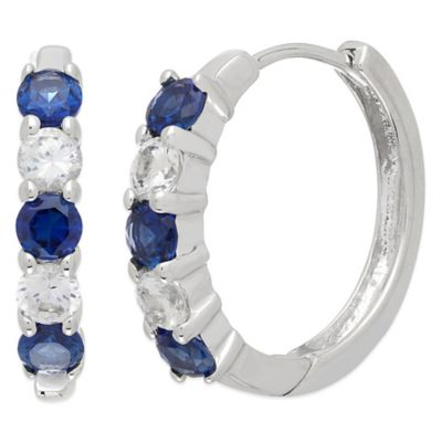 Sterling Silver with Created Blue and Created White Sapphire Hoop Earrings