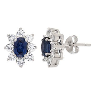 Sterling Silver with Created Blue and Created White Sapphires Flower Stud Earrings