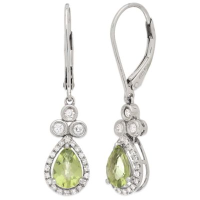 Sterling Silver .35 cttw Diamond Peridot Teardrop Earrings