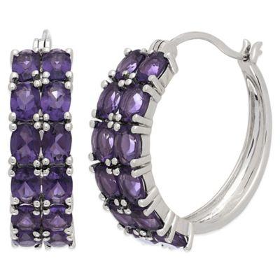 Sterling Silver with Amethyst 2-Row Hoop Earrings