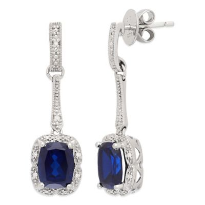 Sterling Silver .06 cttw Diamond and Created Sapphire Cushion-Cut Drop Dangle Earrings