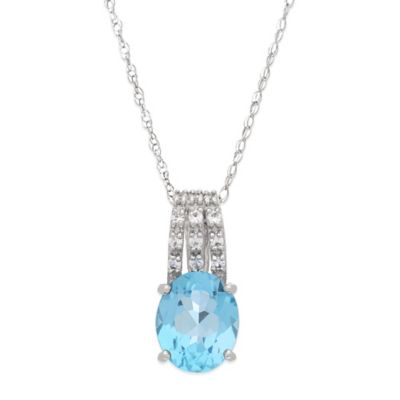 Sterling Silver Blue Topaz and White Topaz Oval Pendant Necklace