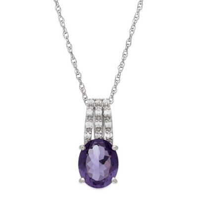 Sterling Silver Amethyst and White Topaz Oval Pendant Necklace