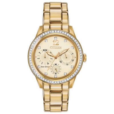 Citizen Eco-Drive Ladies' 37mm Silhouette Crystal Chronograph Watch in Goldtone Stainless Steel
