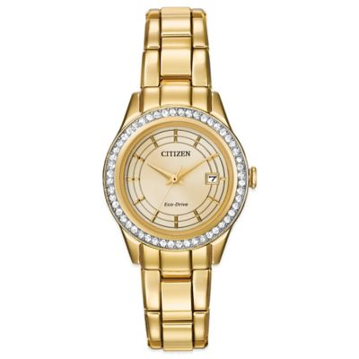 Citizen Eco-Drive Ladies' Silhouette Crystal Graduated Dial Watch in Goldtone Stainless Steel