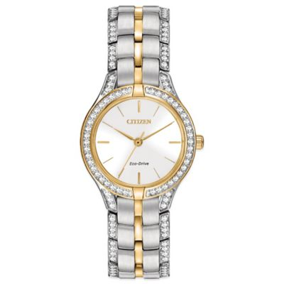 Citizen Eco-Drive Ladies' 28mm Silhouette Crystal White Dial Watch in Two-Tone Stainless Steel