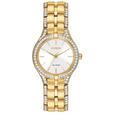 Citizen Eco-Drive Ladies' 28mm Silhouette Crystal White Dial Watch in Stainless Steel