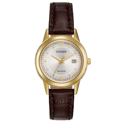 Citizen Eco-Drive Ladies' 29mm Dress Watch in Goldtone Stainless Steel with Brown Leather Strap