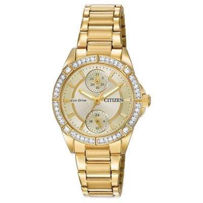 Citizen Drive from Eco-Drive POV Swarovski® Champagne Dial Watch in Goldtone Stainless Steel