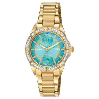 Citizen Drive from Eco-Drive POV Swarovski® Turquoise Dial Watch in Goldtone Stainless Steel