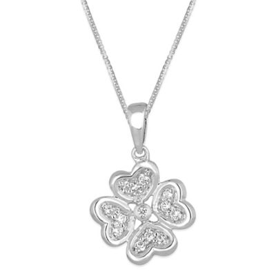 Sterling Silver .10 cttw Diamond 18-Inch chain Four Leaf Clover Pendant Necklace
