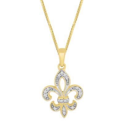 Gold-Plated Sterling Silver .10 cttw Diamond 18-Inch Chain Fleur de Lis Pendant Necklace