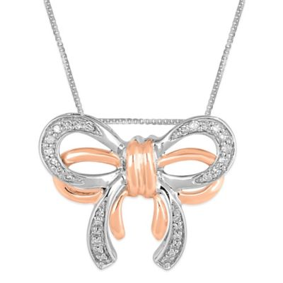 10K Rose Gold and Sterling Silver .12 cttw Diamond 18-Inch Chain Double Bow Pendant Necklace