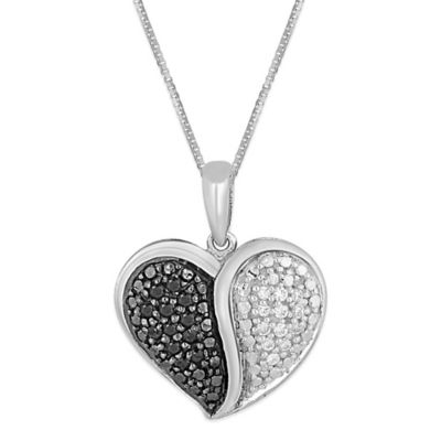 Sterling Silver .20 cttw White and Black Diamond 18-Inch Chain Divided Heart Pendant Necklace