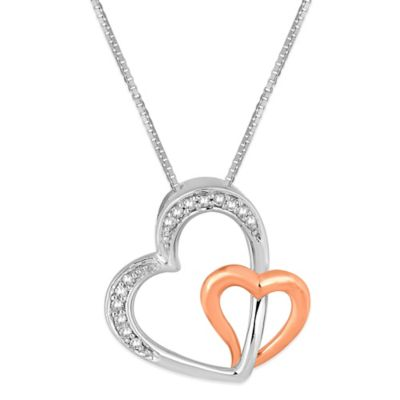 10K Rose Gold and Sterling Silver .09 cttw Diamond 18-Inch Chain Double Heart Pendant Necklace