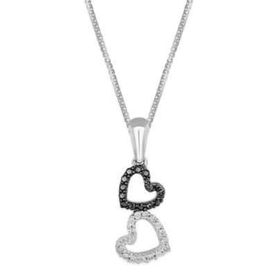 Sterling Silver .10 cttw Black and White Diamond 18-Inch Chain Tilted Double Heart Pendant Necklace