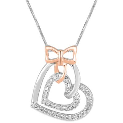 10K Rose Gold and Sterling Silver .20 cttw Diamond Double Heart and Bow Pendant Necklace