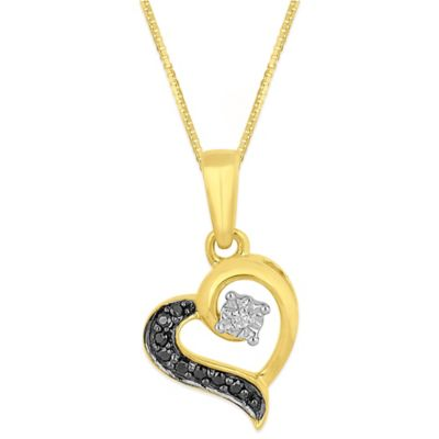 Gold Plated Sterling Silver .055 cttw Enhanced Black and White Diamond Heart Pendant Necklace