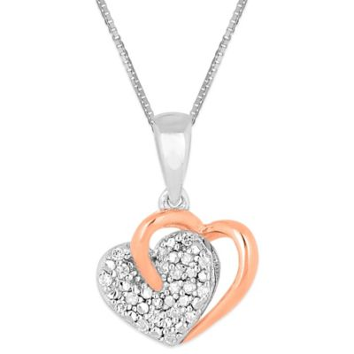 10K Rose Gold and Sterling Silver .08 cctw Diamond Interlocking Heart Pendant Necklace