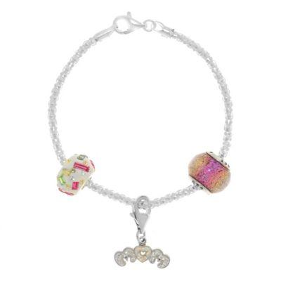 "Sterling Silver Crystal 7.5-Inch ""Mom"" Charm Bracelet"