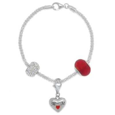 "Sterling Silver 7.5-Inch ""Mom"" Heart Bead Charm Bracelet"