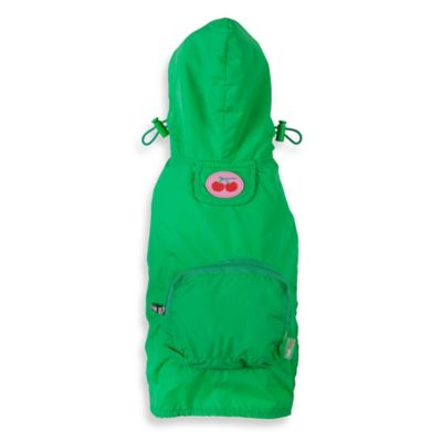 Fab Dog Extra Extra Large Travel Cherry Raincoat in Green