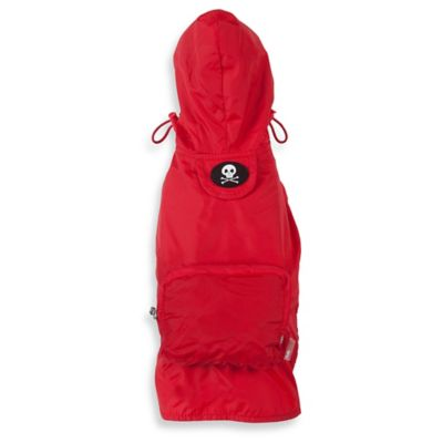 Fab Dog Medium Travel Skull Raincoat in Red