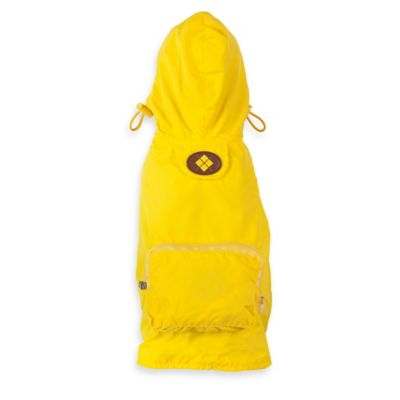 Fab Dog Medium Travel Argyle Raincoat in Yellow