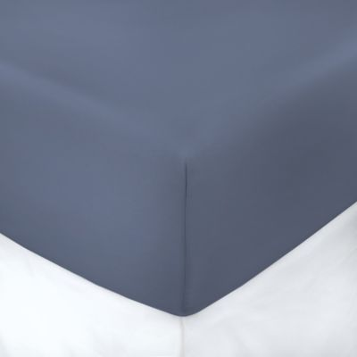600-Thread-Count 60-Inch x 80-Inch with 10-Inch Deep-Pocket Cotton Queen Fitted Sheet in Blue Jean